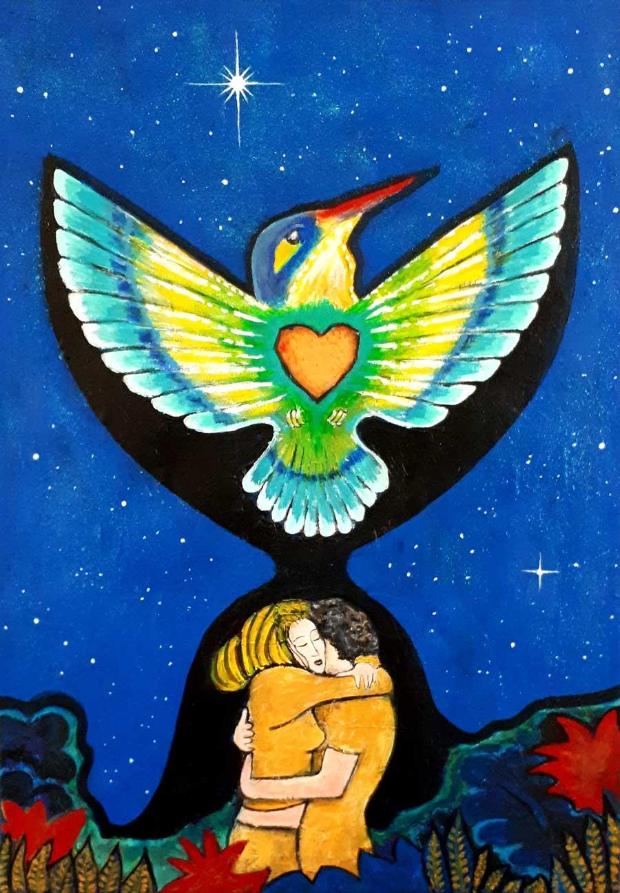 """Love liberates"" 70-50 cm 300 euro"