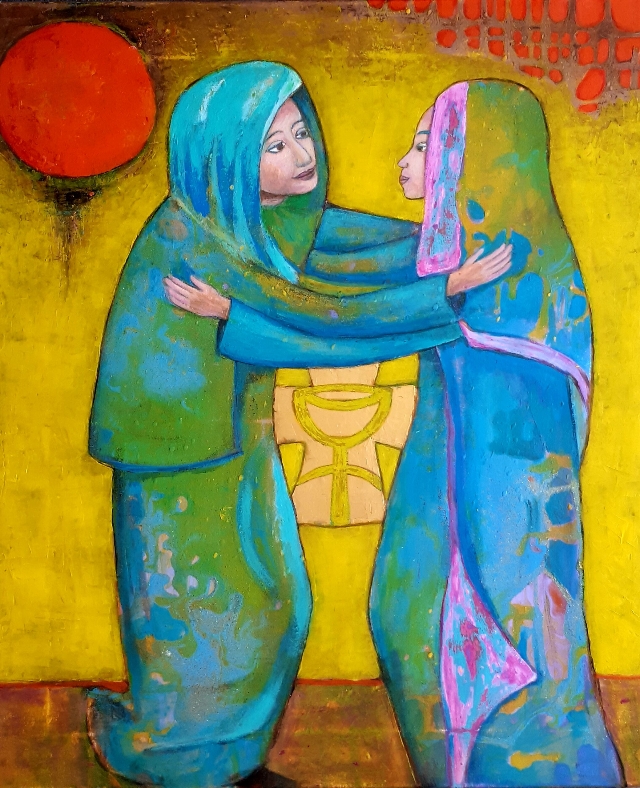 "Togetherness and tenderness can be combined as one painting ""Celebration of love"" 120-80 cm 500 euro available"